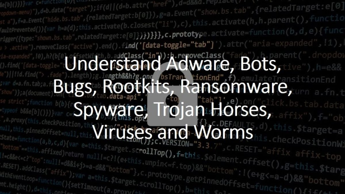 Understand Adware, Bots, Bugs, Rootkits, Ransomware, Spyware, Trojan Horses, Viruses, and Worms