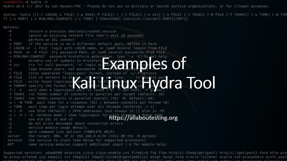 Examples of Kali Linux Hydra Tool